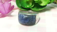 Beautiful Natural Blue Lapis Heavy Solid Band Ring Sterling Silver*Size 8.5*E803