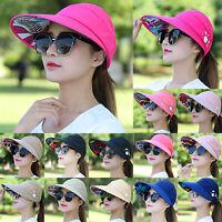 Women's Wide Brim Ponytail Baseball Caps Casual Summer Hats Visor Uv Straw Cover