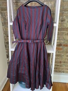 Collectif Clothing Vintage Style Striped Swing Dress UK16 L