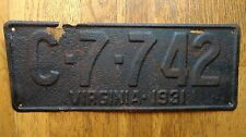 1931 Virginia License Plates Tags VA