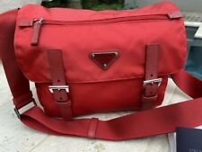 Prada Pattina Red Tessuto Nylon Messenger Bag, 1BD953 Z0T F0011