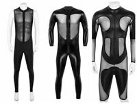 Sexy Men Wet Look Bodysuit Leather Jumpsuits Mesh Romper Dance Costume Club Wear
