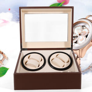 Automatic Watch Winder 4+6 Display Box Storage Wood box PU Container Gift Brown
