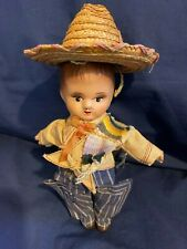 Vintage Composition Cowboy Doll from Mexico w/Sombrero & Chaps- VG- UNIQUE