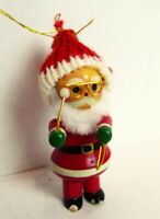 Santa Claus Wooden Christmas Ornament 1984 vintage with a Triangle Instrument