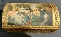 Vintage ITALIAN FLORENTINE Wooden TOLE DOME BOX GILT Gold HOLLYWOOD REGENCY