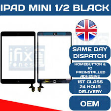 IPAD MINI 1 MINI 2 BLACK DIGITIZER SCREEN TOUCH OEM WITH IC ADHESIVE HOME BUTTON