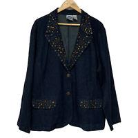 DG2 by Diane Gilman women's jean jacket button front embroidery size plus 3X