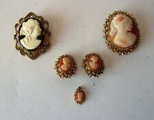 5 VINTAGE COLLECTIBLE  CAMEO JEWELRY LOT