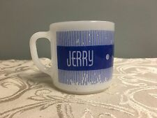 Vintage Federal Milk Glass Jerry Name Mug Blue Gift Personalized