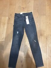 Guess Women's 1981 High Rise Skinny Jeans Exposed Buttons Black Size W27 L29