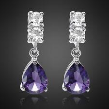 Sale! Lady Gift Pear Purple Amethyst 18K White Gold Plated Gp Lady Stud Earrings