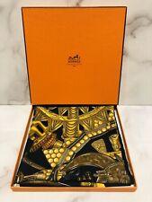 """Hermes """"L'or des Chefs� Black Gold Silk Scarf"""
