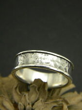 sterling silver men's ring hammered band solid silver oxidized ring size 10.5