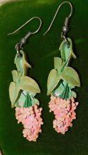 Vintage Pink Lilac Flower Painted Celluloid Dangle Hook Earrings 8b 81