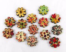 10 bottoni legno fiore dipinti 20 mm bigiotteria 2 fori colori misti cucito