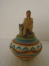 1999 Native American Chief Resin Trinket Pot/Jewelry Box
