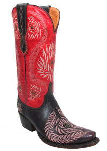 Women's Lucchese 1883 M4837.S54 Ornament Leaf Red Wine Embroidered Cowgirl Boots