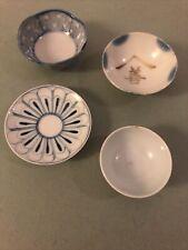3 Antique Sake Cups Japanese Ceramic Porcelain 1 Saucer Blue White