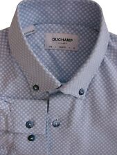 DUCHAMP LONDON Shirt Mens 14 S Light Blue - White Polka Dots SLIM FIT