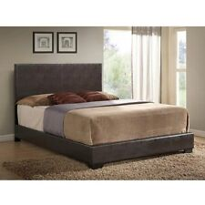 Queen Size Bed Brown Faux Leather Frame Upholstered w/ Headboard Bedroom