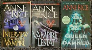 ANNE RICE VAMPIRE CHRONICLES #1-3 BOOK LOT HORROR SUSPENSE PAPERBACK 3 NOVELS