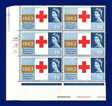More details for 1963 sg644 1s6d red cross centenary cyl block (6) 1a1b1c no dot perf a mnh alxl