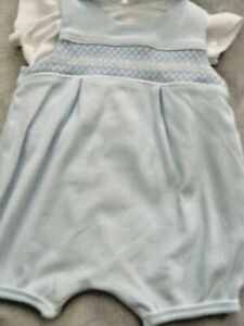 Mintini Baby Boys Smocked Romper & Top Set Pale Blue & White Age 6 Months VGC