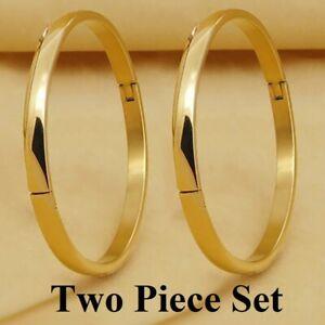 "2 Pc Set 18k Yellow Gold Small 6.5"" 6-1/2"" Size Bracelet Bangle D780"