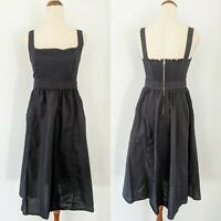 SLIDE SHOW Black LINEN Cotton Midi Dress Pockets Shirred Zip Back Elegant sz 8