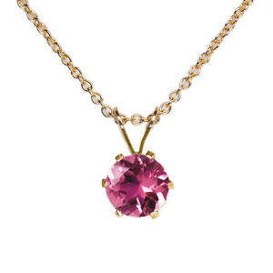 5mm ROUND PINK TOURMALINE 14k YELLOW GOLD FILLED PENDANT + CHAIN / NECKLACE