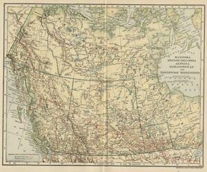 Manitoba, BC, Canada & NW Territories Map; Genuine 1907 (Dated) City Topog Rails