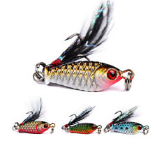 4 Pcs Metal Fishing Lures Bass Small Minnow CrankBait Crank Bait Tackle Hooks