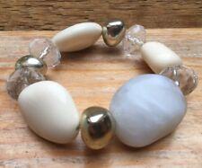Vintage Style Eclectic Bead Bracelet/Faux Glass/White/Retro/Stretchy/Boho/Chunky