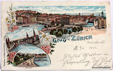 CPA  Precurseur SUISSE GRUSS AUS ZURICH  1897  scan ht def  Lae533