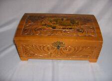 Vintage Pressed Wood Jewelry Trinket Box Finger Joint Corners Mural NICE
