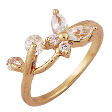 Artistic Womens Cubic Zirconia Flower Ring Yellow Gold Filled Ring Gift Size 6.5