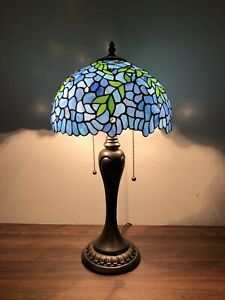 Enjoy Tiffany Style Table Lamp Green Leave Stained Glass Antique Vintage H22""