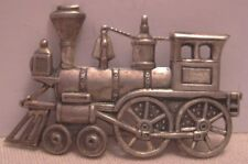 """Old BEAU Sterling Silver Antique Steam Locomomotive Pin 1 7/8"""" Train 1950s-60s"""