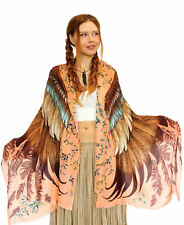 Saffron Wings Hand-Painted Bohemian Shawl, 100% Cotton Scarf