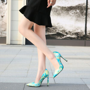 Women's High Heels Floral Print Pumps Pointed Toe Sandals Slip On Shoes Clubwear