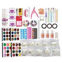 DIY Tool Kit Acrylic Liquid Nail Art Tool Set Powder Brush Buffer Glitter Strips