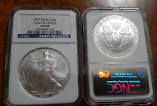 2007 Silver American Eagle NGC MS-69 Early Release Blue Label