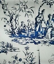 SCALAMANDRE CHINOISERIE PAGODA PALACE TOILE LINEN FABRIC 10 YARDS PORCELAIN