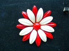 VINTAGE RED AND WHITE FLOWER  ENAMELED BROOCH/PIN