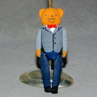 Christmas Ornament Ceramic Animal BEAR ARTICULATED  MOVEABLE USA SELLER