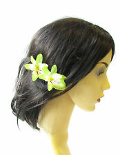 Large Green Tropical Orchid Flower Hair Clip Fascinator Rockabilly 1950s 2525