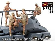 Hobby Fan 1/35 HF-721 WWII German Sd.Kfz.263  Afrika Korps Crew - 4 Figures