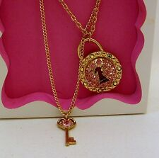 New! Betsey Johnson Gold Heart & Key Locket Necklace Bow Double Strand
