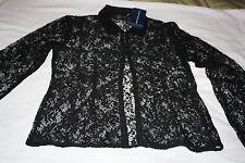 Womens Ralph Lauren Black Lace Long Sleeve Shirt/Blouse Size M $298 Retail